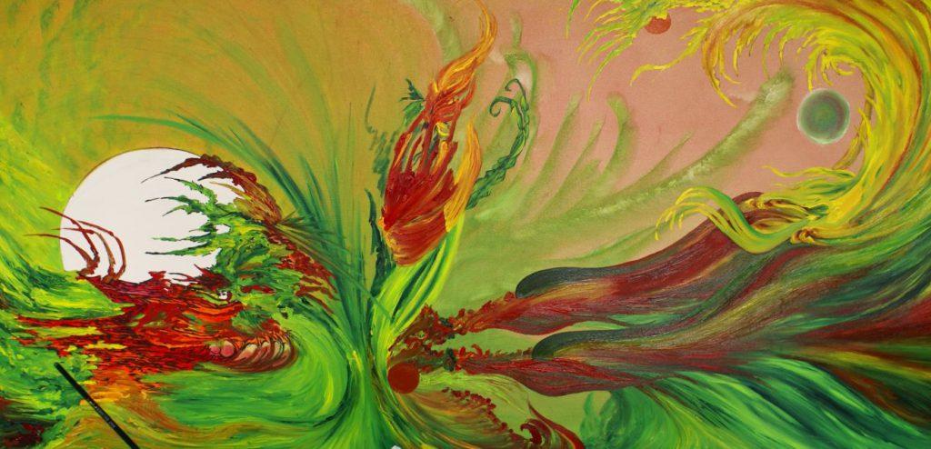 """""""Hommage an die Schwalben"""" nach der Stroke Art Fair München 05.2016, Öl auf Leinwand (Atelier 17 * 2016)"""