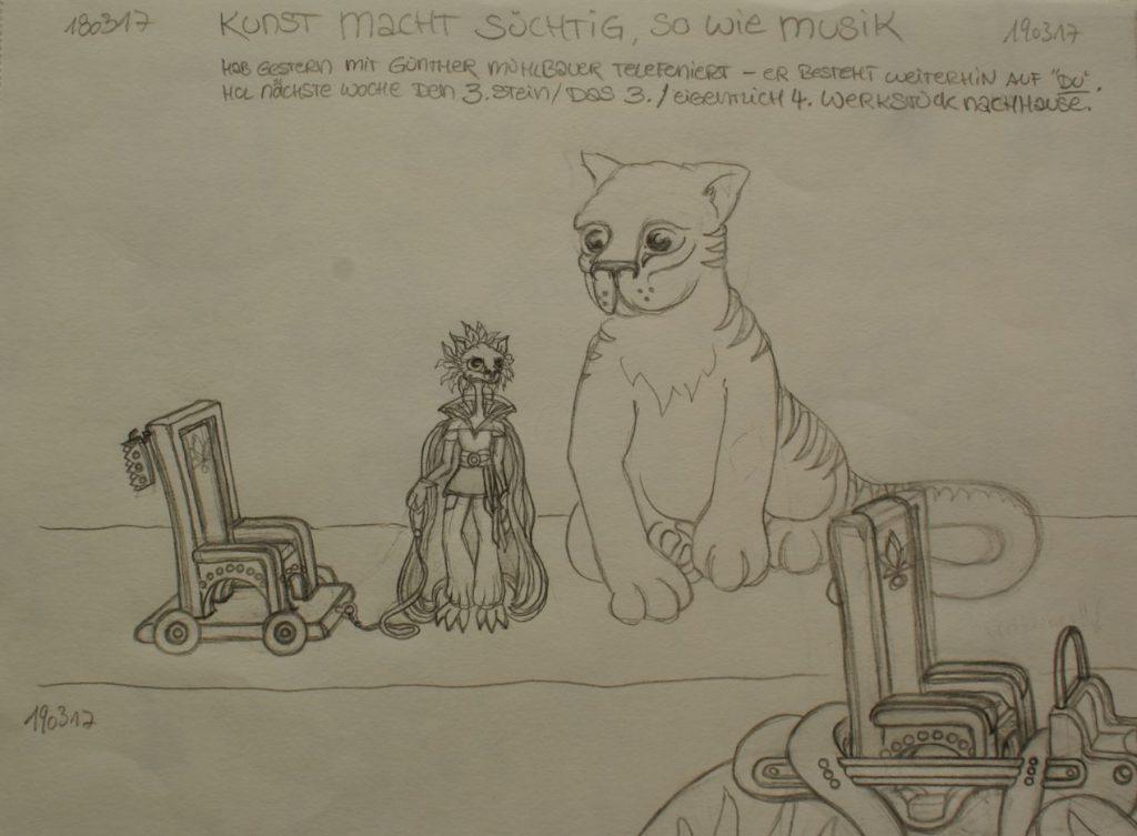 Jurix Mischu mit mobilem Thron und dem Tiger von nebenan (Kö., *2017)