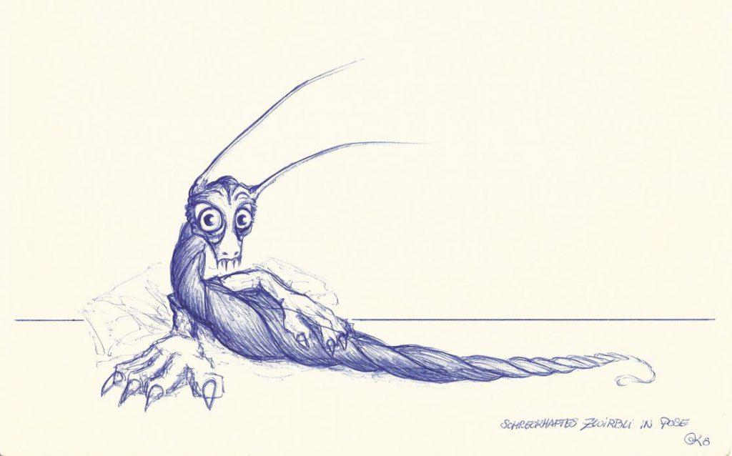 Schreckhaftes Zwirbli in Pose - Kugelschreiber (MUC, 2008)