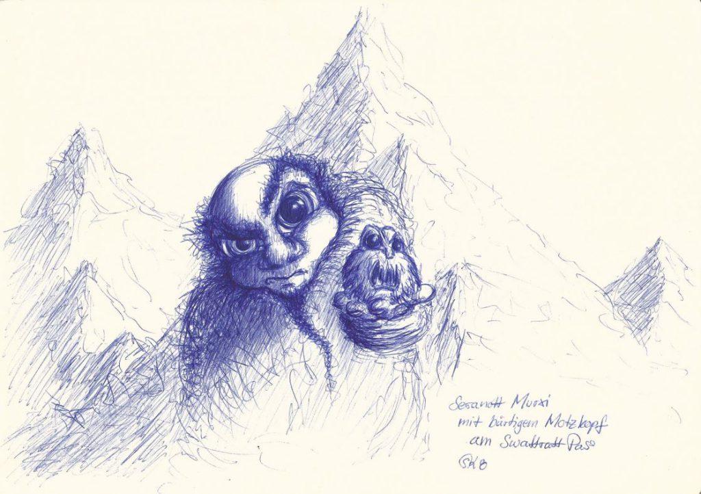 Seranott Murxi mit bärtigem Motzkopf am Swattratt Pass (MUC, 2008)