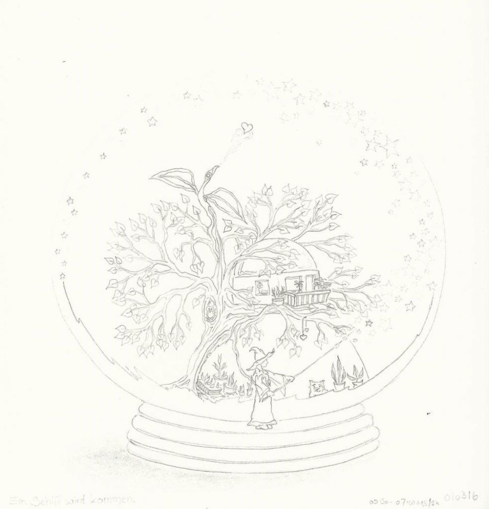 """Die Geburt von Petri, in der Zauberkugel des Lehrlings - """"Im Land des Meisters von Ro"""" (Atelier 17 a. A. * 2016) - in Bearbeitung"""