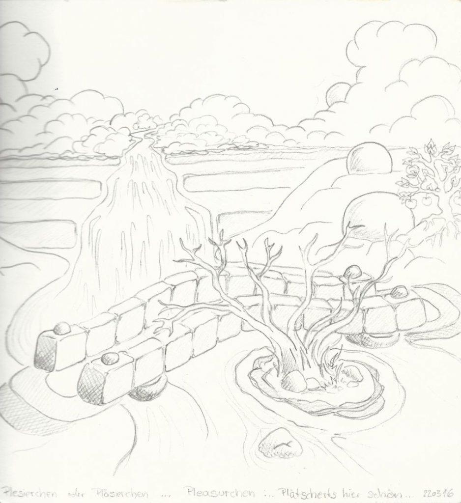 Die Weide am Bach - Zeichnung (Atelier am See, 03-2016)