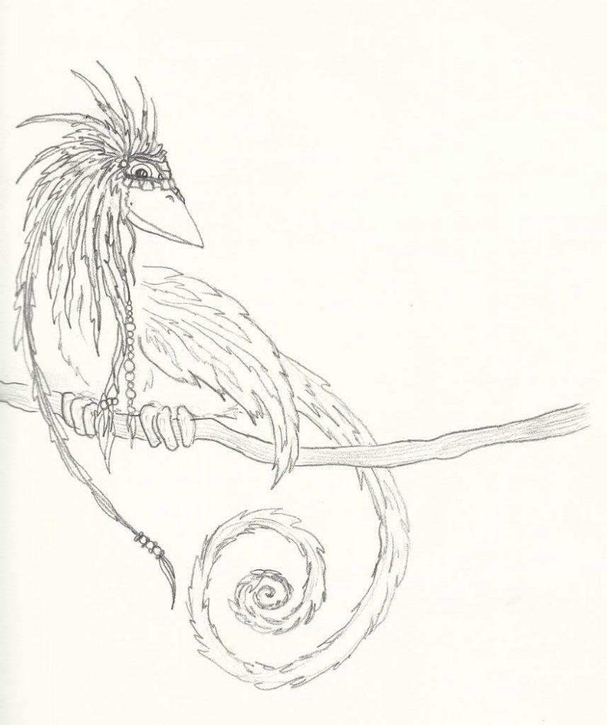 Indianervogel - Zeichnung (Atelier am See, 03-2015)