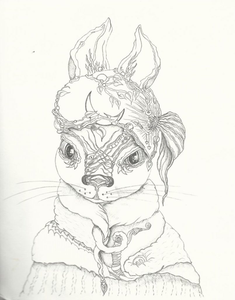 Neumond Hase - Zeichnung (Atelier am See, 03-2016)