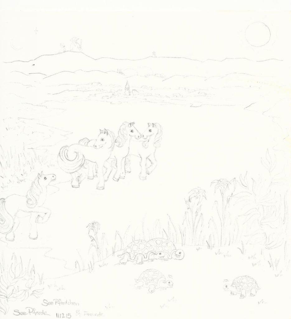 Seepferde - Zeichnung (Atelier am See, 12-2015)