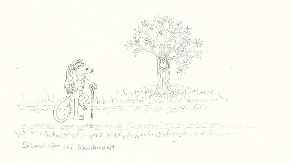 Siebenschläfer auf Wanderschaft - Zeichnung (Atelier am See, 03-2016)Siebenschläfer auf Wanderschaft - Zeichnung (Atelier am See, 03-2016)