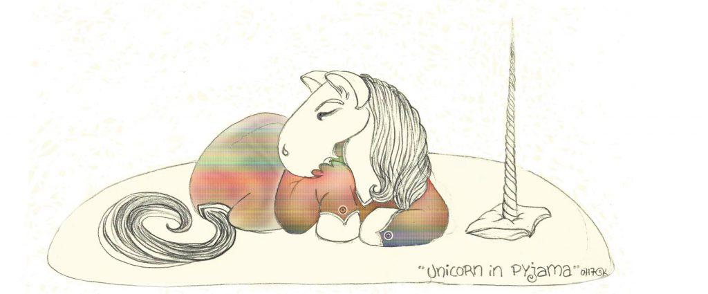 Unicorn in Pyjamas 001 - Zeichnung PS CS4 bearb. (Königs W., 02-2017)