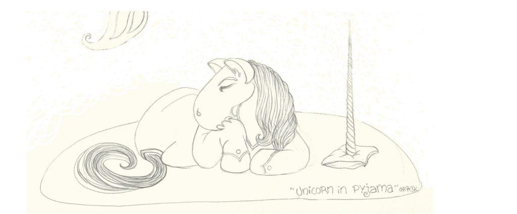 Unicorn in Pyjamas - Zeichnung (Königs W., 02-2017)
