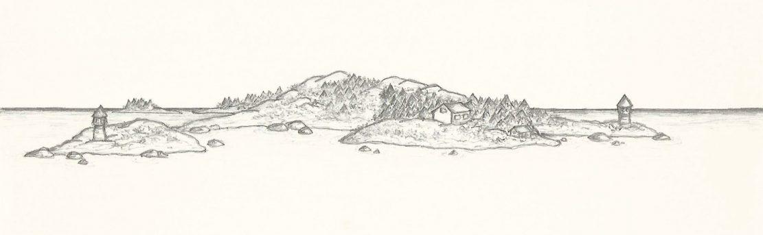 Land in Sicht, Zeichnung, (Finnland 2001-06-19 SK)