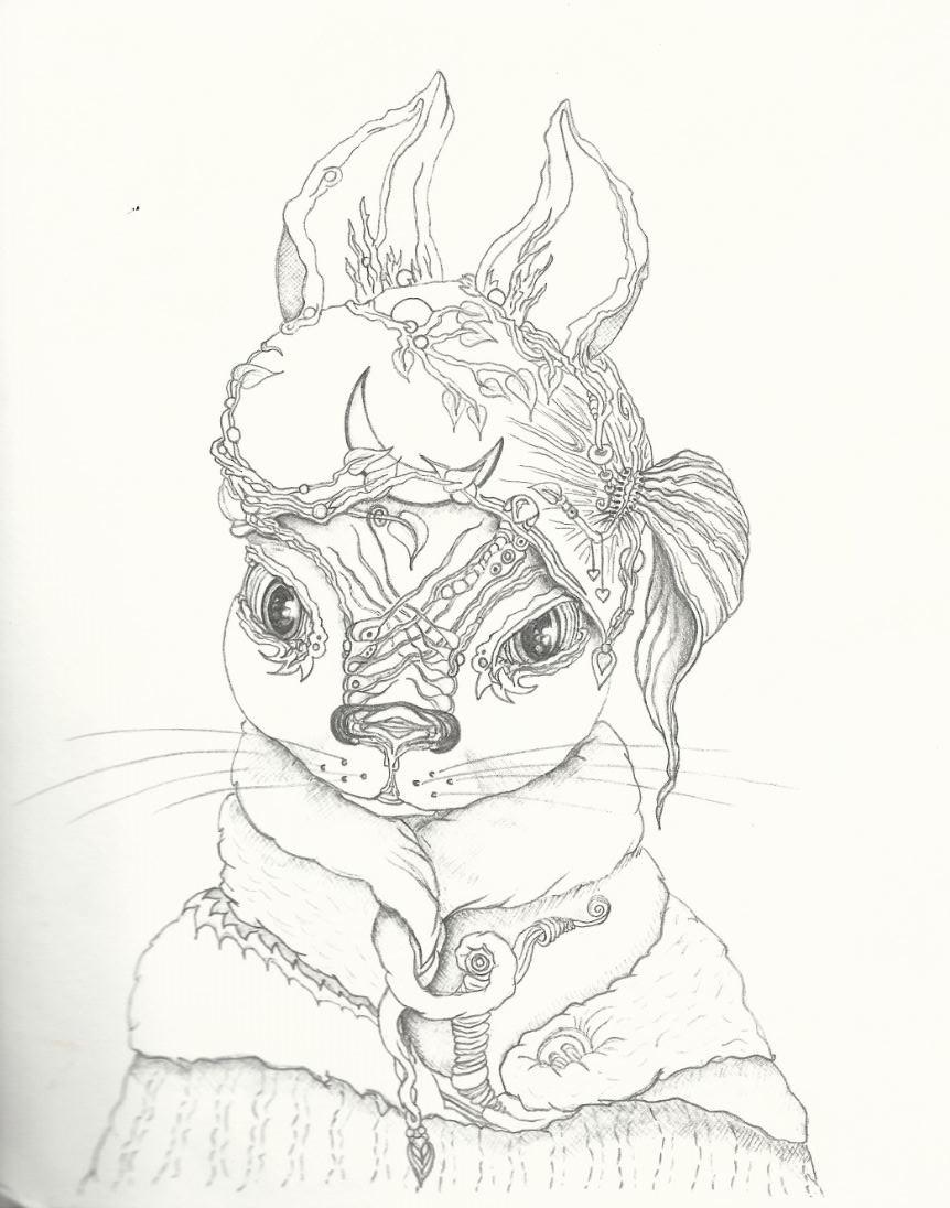 Neumond Hase - Zeichnung (Atelier am See, 03-2016-vSK)