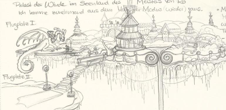 Palast der Winde im Seenland des Meisters von Ro - Bleistift (Königs W., 01-2017)